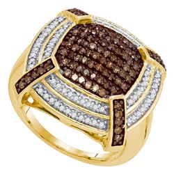 0.75 CTW Brown Color Diamond Square Cluster Ring 10KT Yellow Gold - REF-52M4H