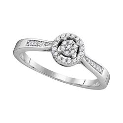 0.13 CTW Diamond Cluster Bridal Engagement Ring 10KT White Gold - REF-14F9N