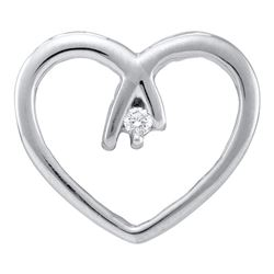 0.03 CTW Diamond Solitaire Heart Pendant 10KT White Gold - REF-8N9F