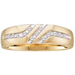 0.12 CTW Mens Channel-set Diamond Triple Row Wedding Ring 10KT Yellow Gold - REF-14H9M
