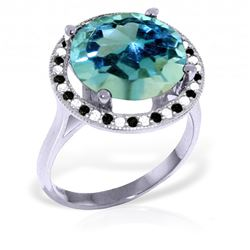 Genuine 8 ctw Blue Topaz, White & Black Diamond Ring Jewelry 14KT White Gold - REF-93K3V