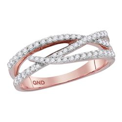 0.36 CTW Diamond Crossover Woven Ring 10KT Rose Gold - REF-37W5K