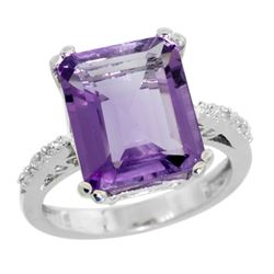 Natural 5.48 ctw amethyst & Diamond Engagement Ring 14K White Gold - REF-51G4M