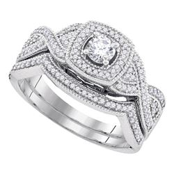 0.50 CTW Diamond Bridal Wedding Engagement Ring 10KT White Gold - REF-67Y4X