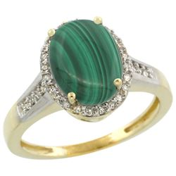 Natural 2.49 ctw Malachite & Diamond Engagement Ring 14K Yellow Gold - REF-39X7A
