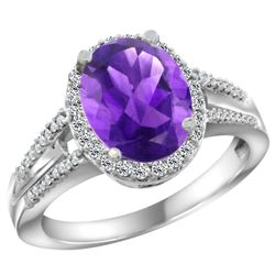 Natural 2.72 ctw amethyst & Diamond Engagement Ring 14K White Gold - REF-54H4W