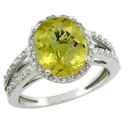 Natural 3.47 ctw Lemon-quartz & Diamond Engagement Ring 10K White Gold - REF-33K6R
