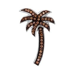 0.25 CTW Cognac-brown Color Diamond Palm Tree Nautical Pendant 10KT White Gold - REF-16H4M