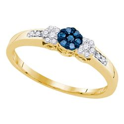 0.21 CTW Blue Color Diamond Triple Cluster Ring 10KT Yellow Gold - REF-18H2M
