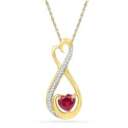 0.67 CTW Heart Created Ruby Solitaire Diamond Infinity Pendant 10KT Yellow Gold - REF-11Y2X