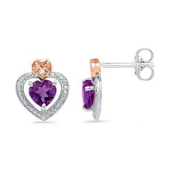 0.01 CTW Created Amethyst Heart Earrings 10KT White Gold - REF-12Y2X