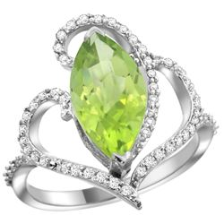Natural 3.07 ctw Peridot & Diamond Engagement Ring 14K White Gold - REF-77M4H
