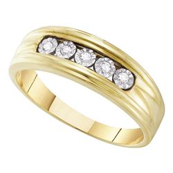 0.10 CTW Mens Illusion-set Diamond Wedding Ring 10KT Yellow Gold - REF-18X2Y