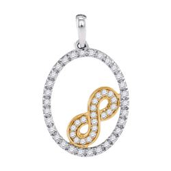 0.24 CTW Diamond Infinity Oval Pendant 10KT Two-tone Gold - REF-19F4N