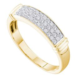 0.29 CTW Diamond Triple Row Ring 14KT Yellow Gold - REF-26H9M
