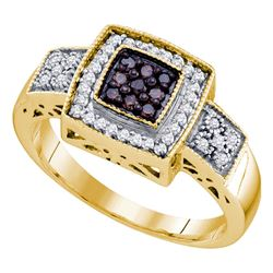 0.35 CTW Cognac-brown Color Diamond Square-shape Cluster Ring 10KT Yellow Gold - REF-30H2M