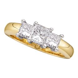 0.50 CTW Princess Diamond 3-stone Bridal Engagement Ring 14KT Yellow Gold - REF-56H2M