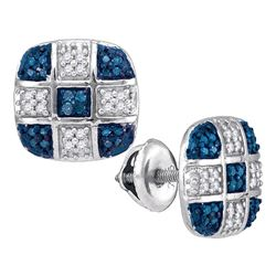 0.25 CTW Blue Color Diamond Checkered Stud Earrings 10KT White Gold - REF-24F2N