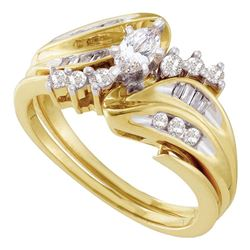 0.50 CTW Marquise Diamond Solitaire Bridal Engagement Ring 14KT Yellow Gold - REF-71F9N