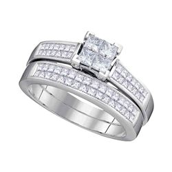 1 CTW Princess Diamond Cluster Bridal Engagement Ring 14KT White Gold - REF-127N4F