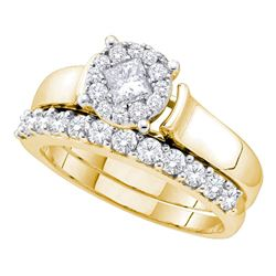 0.97 CTW Princess Diamond Soleil Bridal Engagement Ring 14KT Yellow Gold - REF-139X5Y