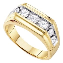 1 CTW Mens Diamond Squared Edges Single Row Ring 10KT Yellow Gold - REF-79W4K