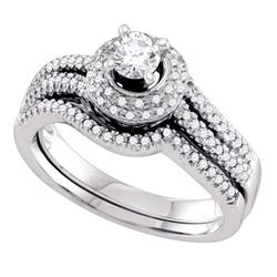 0.50 CTW Diamond Bridal Wedding Engagement Ring 14KT White Gold - REF-89F9N