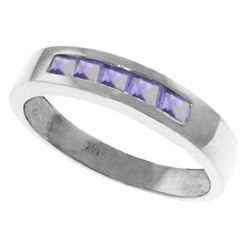 Genuine 0.50 ctw Tanzanite Ring Jewelry 14KT White Gold - REF-49F8Z