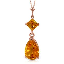 Genuine 2 ctw Citrine Necklace Jewelry 14KT Rose Gold - REF-24Z3N