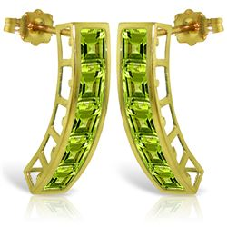Genuine 4.5 ctw Peridot Earrings Jewelry 14KT Yellow Gold - REF-38P5H
