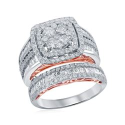 2.53 CTW Diamond Cluster Bridal Engagement Ring 14KT Two-tone Gold - REF-236Y9X