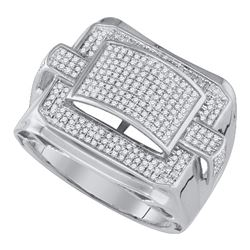 0.80 CTW Mens Diamond Arched Square Cluster Ring 10KT White Gold - REF-76N4F