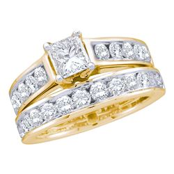 1 CTW Princess Diamond Solitaire Bridal Engagement Ring 14k Yellow Gold - REF-127F4N