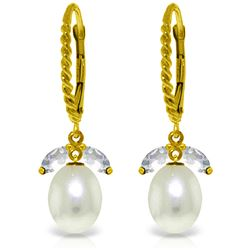 Genuine 9 ctw Aquamarine & Pearl Earrings Jewelry 14KT Yellow Gold - REF-39T9A