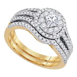 1 CTW Princess Diamond Solitaire Bridal Engagement Ring 14KT Yellow Gold - REF-119K9W