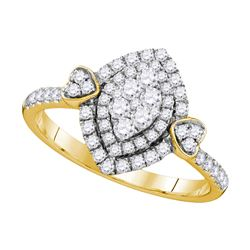 0.59 CTW Diamond Oval Double Halo Cluster Ring 14KT Yellow Gold - REF-82H4M