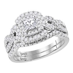 1 CTW Princess Diamond Halo Bridal Engagement Ring 14KT White Gold - REF-142N4F