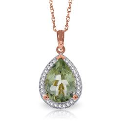 Genuine 3.36 ctw Green Amethyst & Diamond Necklace Jewelry 14KT Rose Gold - REF-69A6K