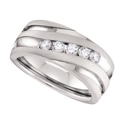 0.50 CTW Mens Diamond Matte Grooved Wedding Ring 10KT White Gold - REF-97H4M