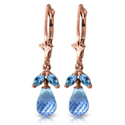 Genuine 3.4 ctw Blue Topaz Earrings Jewelry 14KT Rose Gold - REF-26F6Z