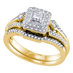 0.52 CTW Princess Diamond Bridal Engagement Ring 14KT Yellow Gold - REF-89Y9X
