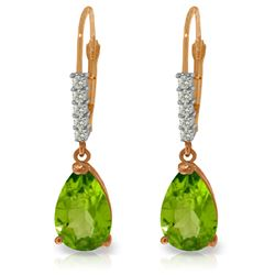 Genuine 3.15 ctw Peridot & Diamond Earrings Jewelry 14KT Rose Gold - REF-44R3P