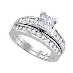 1 CTW Princess Diamond Bridal Engagement Ring 14KT White Gold - REF-116H9M