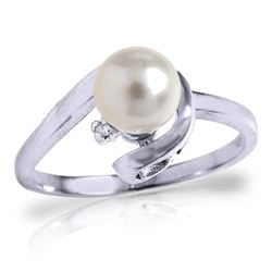 Genuine 1.01 ctw Pearl & Diamond Ring Jewelry 14KT White Gold - REF-38W2Y