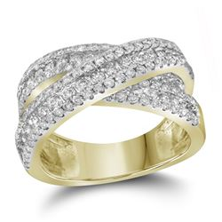 1.93 CTW Pave-set Diamond Crossover Cocktail Ring 14KT Yellow Gold - REF-224H9M