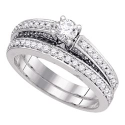 1 CTW Diamond Bridal Wedding Engagement Ring 14KT White Gold - REF-157K5W