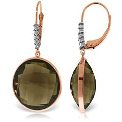Genuine 34.15 ctw Smoky Quartz & Diamond Earrings Jewelry 14KT Rose Gold - REF-63Y4F