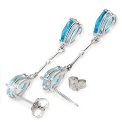 Genuine 7.01 ctw Blue Topaz & Diamond Earrings Jewelry 14KT White Gold - REF-33R8P