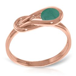 Genuine 0.65 ctw Emerald Ring Jewelry 14KT Rose Gold - REF-49N6R