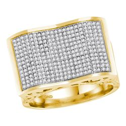 0.83 CTW Mens Pave-set Diamond Rectangle Concave Cluster Ring 10KT Yellow Gold - REF-71N9F